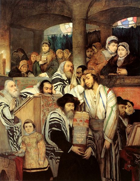 Gottlieb Jews Praying in the Synagogue on Yom Kippur